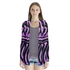Purple Neon Lines Drape Collar Cardigan by Valentinaart
