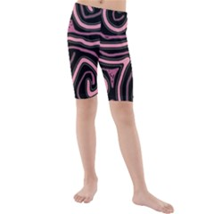 Decorative Lines Kid s Mid Length Swim Shorts by Valentinaart
