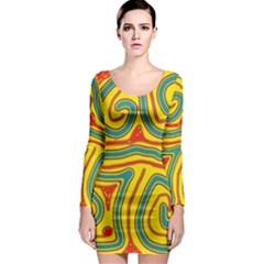 Colorful Decorative Lines Long Sleeve Bodycon Dress by Valentinaart