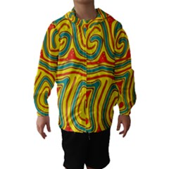 Colorful Decorative Lines Hooded Wind Breaker (kids) by Valentinaart