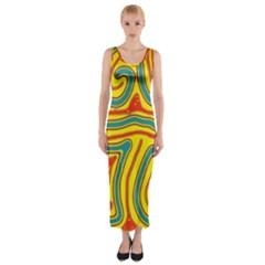 Colorful Decorative Lines Fitted Maxi Dress by Valentinaart