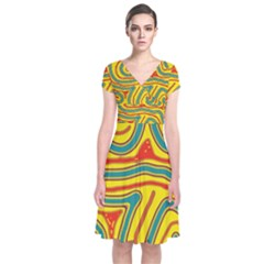 Colorful Decorative Lines Short Sleeve Front Wrap Dress