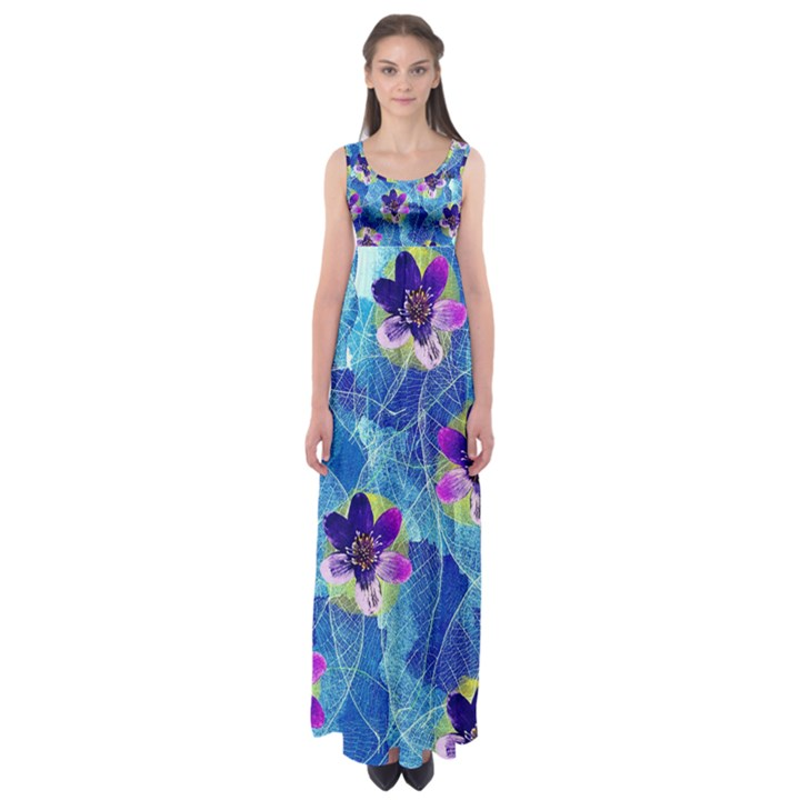 Purple Flowers Empire Waist Maxi Dress