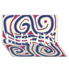 Blue And Red Lines Best Sis 3d Greeting Card (8x4) by Valentinaart