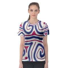 Blue And Red Lines Women s Sport Mesh Tee by Valentinaart