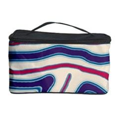 Blue And Red Lines Cosmetic Storage Case by Valentinaart