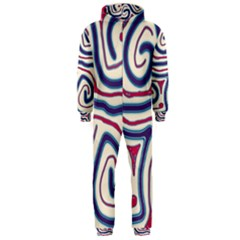 Blue And Red Lines Hooded Jumpsuit (men)  by Valentinaart