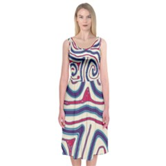 Blue And Red Lines Midi Sleeveless Dress