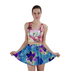 Purple Flowers Mini Skirt by DanaeStudio