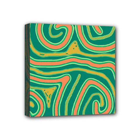 Green And Orange Lines Mini Canvas 4  X 4  by Valentinaart