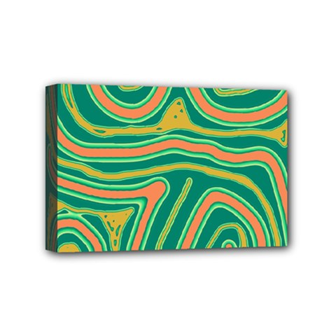 Green And Orange Lines Mini Canvas 6  X 4  by Valentinaart