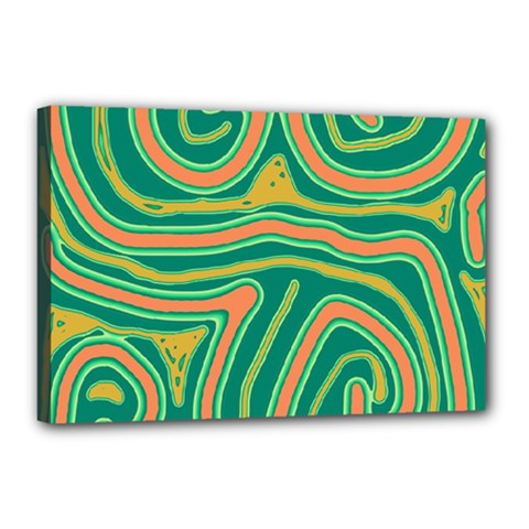 Green And Orange Lines Canvas 18  X 12  by Valentinaart