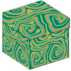 Green And Orange Lines Storage Stool 12   by Valentinaart