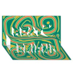 Green And Orange Lines Best Friends 3d Greeting Card (8x4)