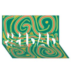 Green And Orange Lines #1 Dad 3d Greeting Card (8x4) by Valentinaart