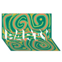 Green And Orange Lines Party 3d Greeting Card (8x4) by Valentinaart