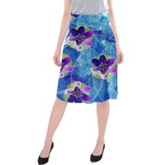 Purple Flowers Midi Beach Skirt