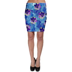Purple Flowers Bodycon Skirt