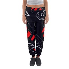 Black And Red Artistic Abstraction Women s Jogger Sweatpants by Valentinaart