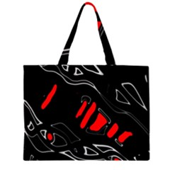 Black And Red Artistic Abstraction Zipper Large Tote Bag by Valentinaart