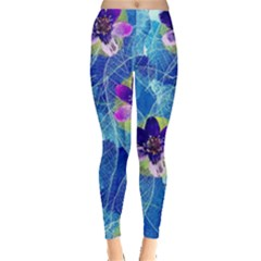 Purple Flowers Leggings  by DanaeStudio
