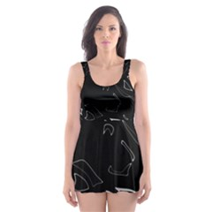 Black And White Skater Dress Swimsuit by Valentinaart