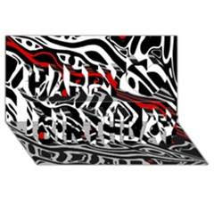 Red, Black And White Abstract Art Happy Birthday 3d Greeting Card (8x4)