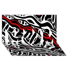 Red, Black And White Abstract Art Mom 3d Greeting Card (8x4)