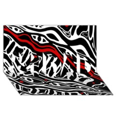 Red, Black And White Abstract Art #1 Dad 3d Greeting Card (8x4) by Valentinaart