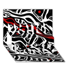 Red, Black And White Abstract Art You Rock 3d Greeting Card (7x5) by Valentinaart