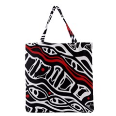 Red, Black And White Abstract Art Grocery Tote Bag by Valentinaart