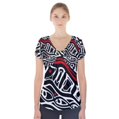 Red, Black And White Abstract Art Short Sleeve Front Detail Top by Valentinaart