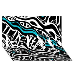 Blue, Black And White Abstract Art Party 3d Greeting Card (8x4) by Valentinaart