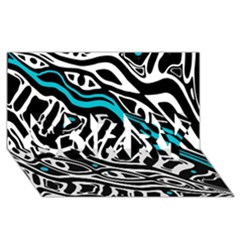 Blue, Black And White Abstract Art Sorry 3d Greeting Card (8x4) by Valentinaart