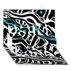 Blue, Black And White Abstract Art You Rock 3d Greeting Card (7x5)