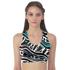 Blue, Black And White Abstract Art Sports Bra by Valentinaart