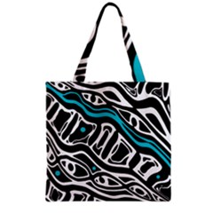 Blue, Black And White Abstract Art Grocery Tote Bag by Valentinaart