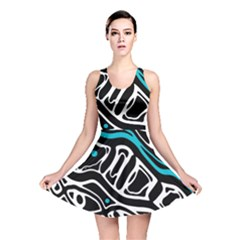 Blue, Black And White Abstract Art Reversible Skater Dress by Valentinaart