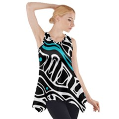 Blue, Black And White Abstract Art Side Drop Tank Tunic