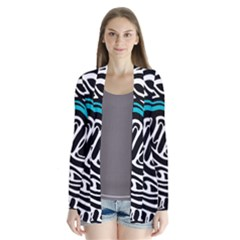 Blue, Black And White Abstract Art Drape Collar Cardigan by Valentinaart