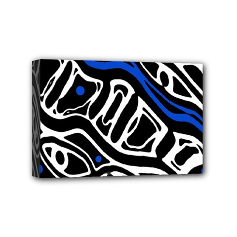 Deep Blue, Black And White Abstract Art Mini Canvas 6  X 4  by Valentinaart