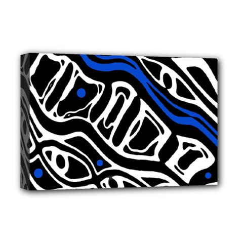 Deep Blue, Black And White Abstract Art Deluxe Canvas 18  X 12   by Valentinaart