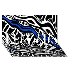Deep Blue, Black And White Abstract Art Best Sis 3d Greeting Card (8x4) by Valentinaart