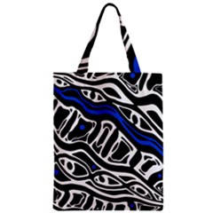 Deep Blue, Black And White Abstract Art Classic Tote Bag by Valentinaart