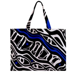 Deep Blue, Black And White Abstract Art Zipper Mini Tote Bag by Valentinaart