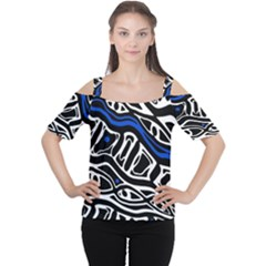 Deep Blue, Black And White Abstract Art Women s Cutout Shoulder Tee by Valentinaart