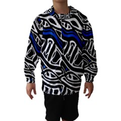 Deep Blue, Black And White Abstract Art Hooded Wind Breaker (kids) by Valentinaart