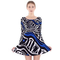 Deep Blue, Black And White Abstract Art Long Sleeve Velvet Skater Dress by Valentinaart