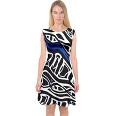 Deep Blue, Black And White Abstract Art Capsleeve Midi Dress by Valentinaart