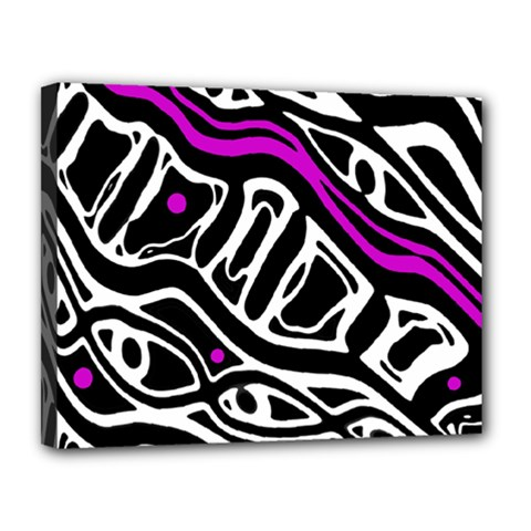 Purple, Black And White Abstract Art Canvas 14  X 11  by Valentinaart